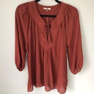 Soprano large tie blouse dark mauve